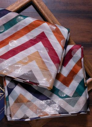 Multi Color Rajwadi Silk Printed saree
