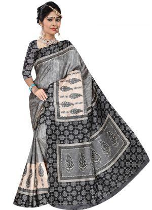 Multi Color Rice Silk Printed Latest Designer Saree