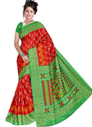 Multi Color Rice Silk Printed Saree For Festival