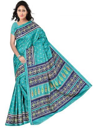 Multi Color Rice Silk Saree With Printed Work