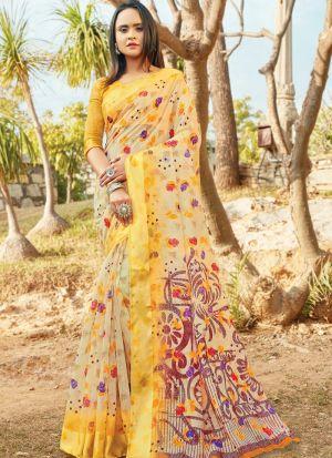 Multi Color South Indian Cotton Designer Saree