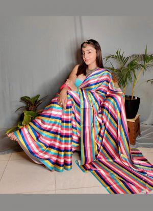 Multi Color Striped Printed Saree
