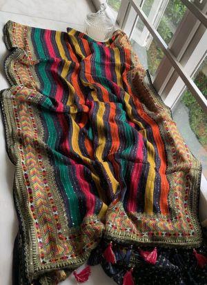 Multi Color Vichitra Silk Printed Saree