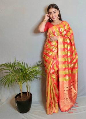 Multi Color Weaving Work Saree