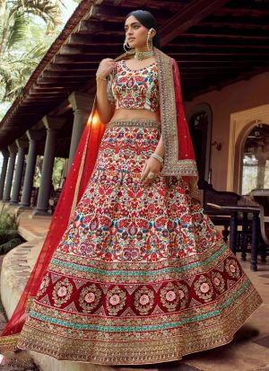 Multi Colour Art Silk Resham Work Lehenga Choli