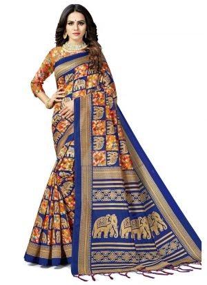 Multi Colour Traditional South Indian Wedding Art Silk Saree