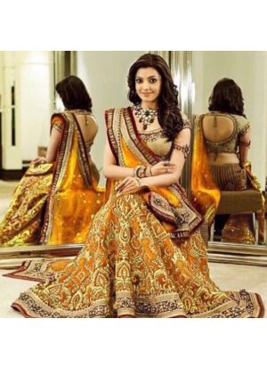Mustard Banglori Silk Bridal Lehenga Choli With Chinon Silk Dupatta