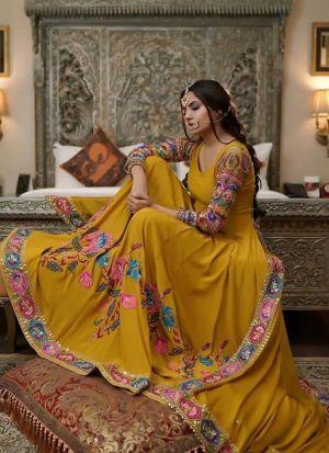 Mustard Yellow Chain Stitch Work Wedding Special Anarkali Gown