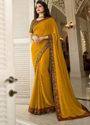 Mustard Yellow Printed Vichitra Silk Designer Saree