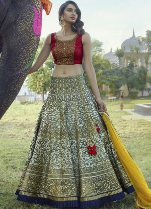 Navratri Festive Special Light Peach Copper Metallic Foil Designer Lehenga Choli
