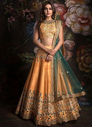 Navratri Special Light Orange Heavy Embroidery Designer Lehenga Choli