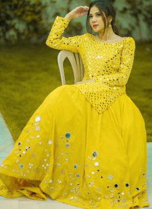 Navratri Wear Yellow  Paper Mirror Work Festive Lehenga Choli