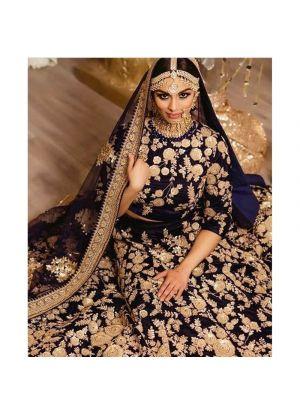 Navy 9000 Velvet Bridal Lehenga Choli For Wedding