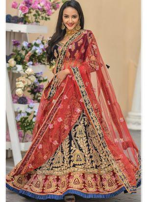 Navy 9000 Velvet Designer Lehenga Choli Collection