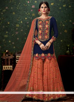 Navy And Orange Color Beautiful Traditional Palazzo Style Salwar Suit