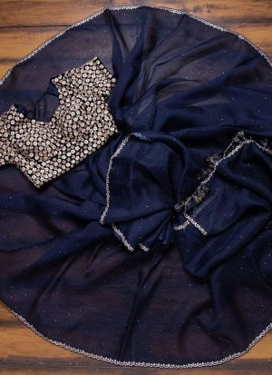Navy Blue Embroidered Fancy Saree