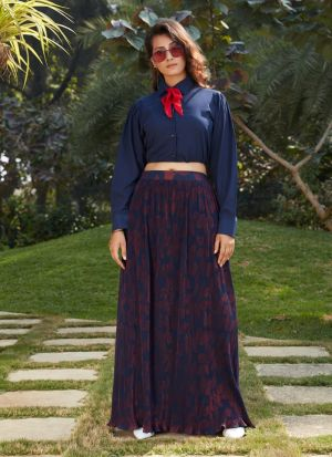 Navy Blue Imported Skirt With Crop Top