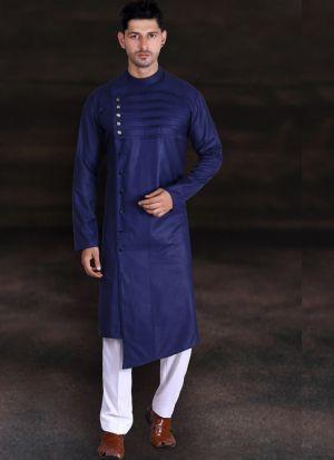 Navy Blue Kurta Pajama With Round Neck
