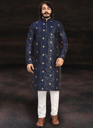 Navy Blue Kurta With Cotton Pajama