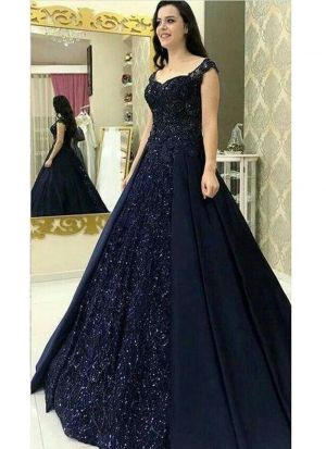 Navy Blue Latest Launched Party Wear Anarkali Gown