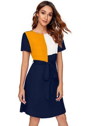 Navy Blue Polyester Short Dress
