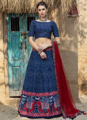 Navy Blue Printed New Fashion Lehenga Choli
