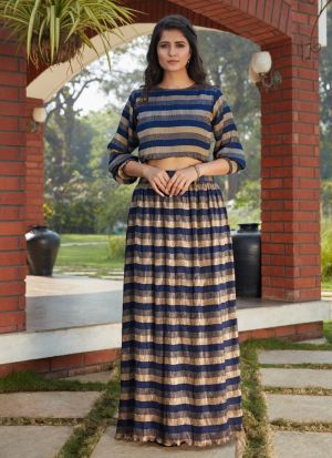 Navy Blue Printed Party Special Skirt