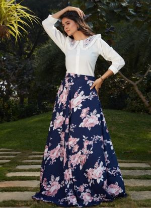 Navy Blue Printed Party Wear Skirt