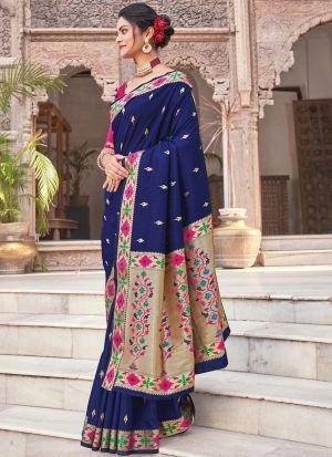 Navy Blue Pure Silk Zari Work Saree