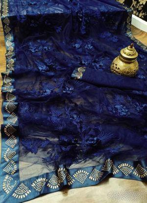 Navy Blue Soft Mono Nylon Net Saree