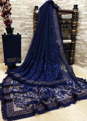 Navy Blue Soft Net Diamond Work Saree