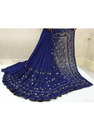 Navy Color New Launching Georgette Saree Collection