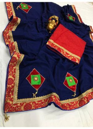 Navy Color Vichitra Silk Designer Traditional Saree