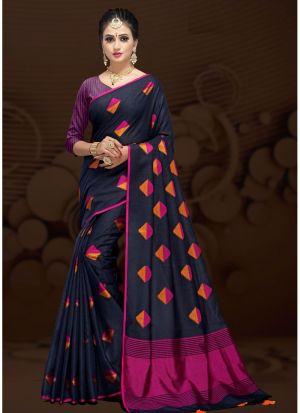 Navy Cotton Silk Fancy Designer Traditional Saree