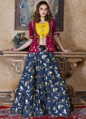 Navy Embroidered Partywear Designer Lehenga Choli With Net Dupatta