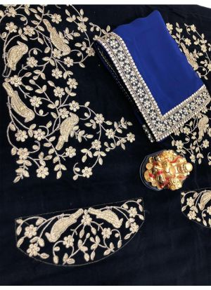 Navy Georgette Fancy Saree Collection