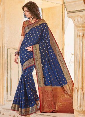 Navy Handloom Silk Beutiful Wedding Saree