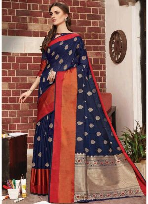 Navy Linen Silk Designer Indian Saree