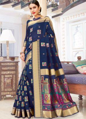 Navy Pure Chanderi Cotton Festive Wear Classy Saree