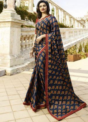 Navy Rangoli Silk Printed Bollywood Style Saree