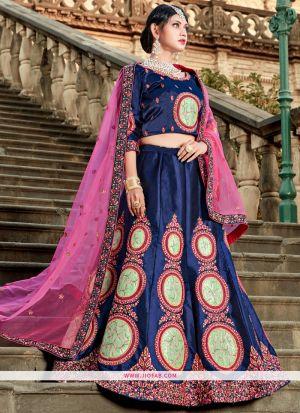 Navy Resham Embroidery Satin Designer Lehenga Choli