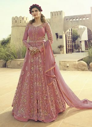 Net Embroidered Party Wear Anarkali Suit