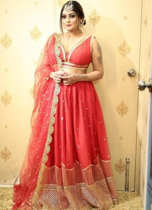 Net Embroidery Lehenga In Carrot Color