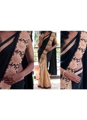 New Arrival Black Color Naylon Mono Net Designer Saree