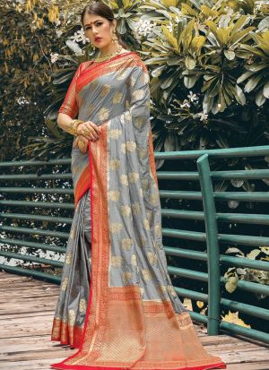New Arrival Grey Fancy Wear Zari Work Saree