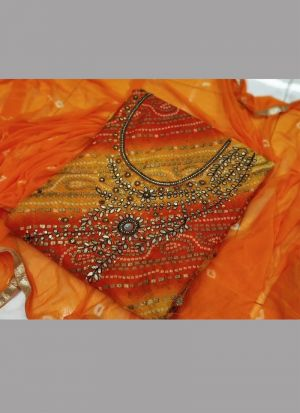 New Arrival Orange Sequence Bandhani Dress Material