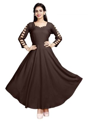 New Arrival Pure Heavy Rayon Brown Kurti Collection