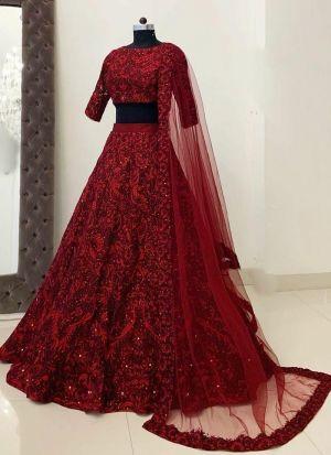 New Arrival Red Heavy Taffeta Silk Festive Wear Lehenga Choli