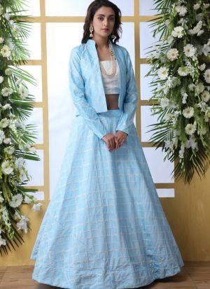 New Arrival Sky Blue Art Silk Lehenga Choli With Dupatta