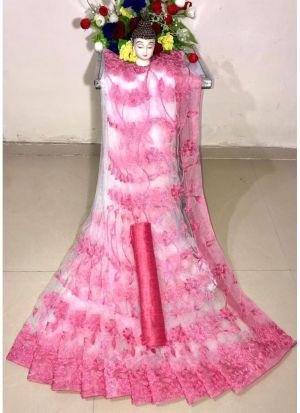 New Arrival Soft Net Baby Pink Designer Saree